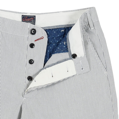 "Maidstone Stripe Short 9"" - White / Navy(Button Fly)-Grayers"