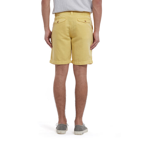 "Bermuda Stretch Cotton Linen Shorts 9"" - Cornsilk-Grayers"
