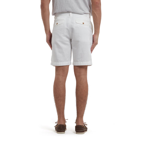 "Bermuda Stretch Cotton Linen Shorts 9""- White-Grayers"