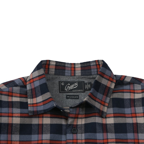 Crescent Brushed Oxford Shirt - Navy Burnt Orange-Grayers