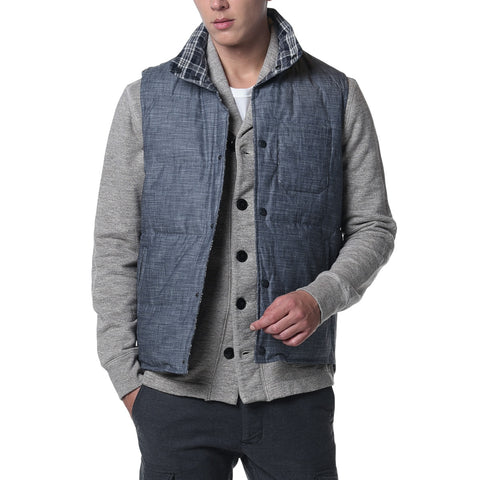Campbell Quilted Reversible Down Vest - Blue Chambray