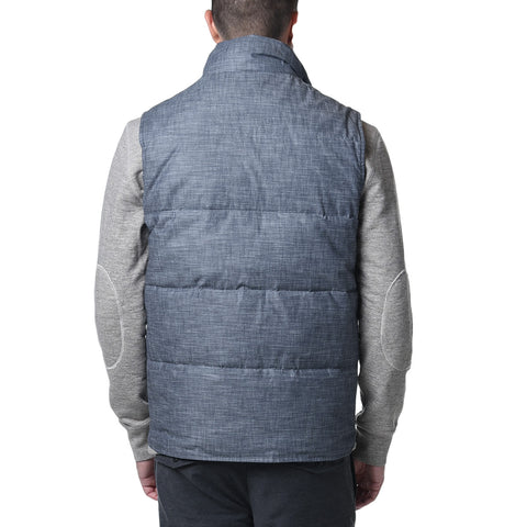 Campbell Quilted Down Vest - Blue Chambray