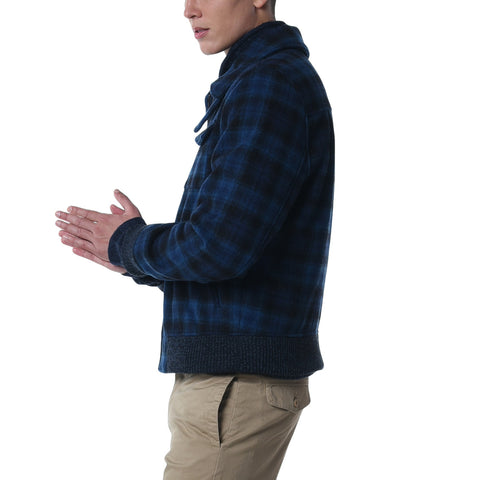 Conrad Wool Bomber Jacket - Navy Plaid
