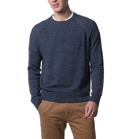 Andover Wool Linen Crew Neck - Navy