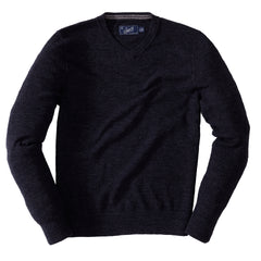 Gilman Tuck Stitch V Neck Sweater - Charcoal
