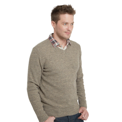 Gilman Tuck Stitch V Neck Sweater - Vintage Gray Heather
