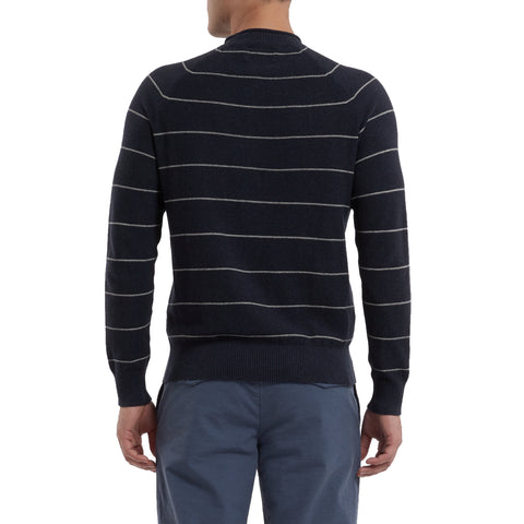 Buckland Rollneck Stripe Sweater - Navy Cream Stripe-Grayers