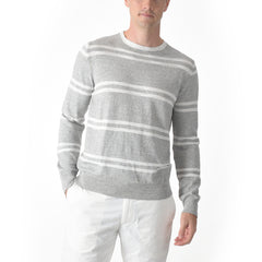 Shore Club Double Stripe Crew - Gray Heather Neutral Stripe-Grayers