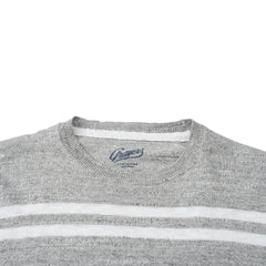 Shore Club Double Stripe Crew - Gray Heather Neutral Stripe