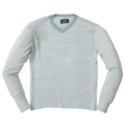 Bleecker Stripe V Neck - Gray Cream Stripe