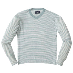 Bedford Stripe V Neck - Seafoam Multi