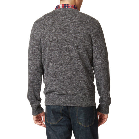 Andover Classic Wool Linen Crew Neck - Charcoal