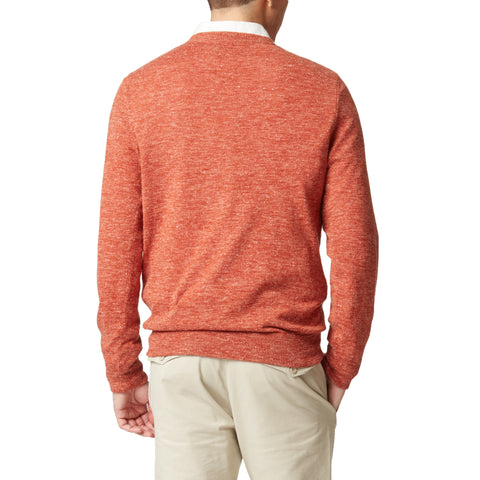 Andover Classic Wool Linen Crew Neck - Burnt Orange