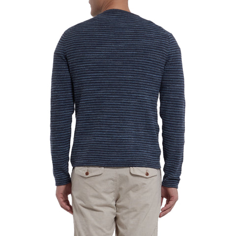 Yarmouth Jacquard Crew - Navy Multi Stripe-Grayers
