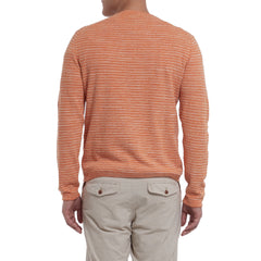 Yarmouth Jacquard Crew - Orange Multi Stripe-Grayers