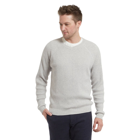Mercer Thermal Stitch V Neck Sweater - Gray
