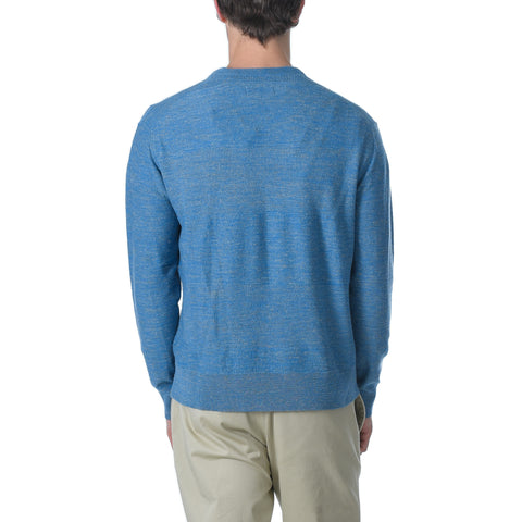 Wadsworth Wool Linen Textured Crew - Med Blue