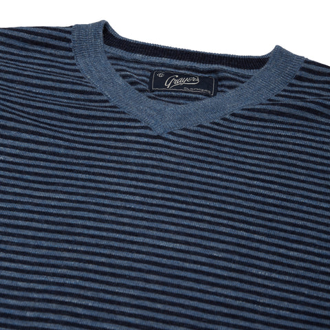 Bleecker Stripe V Neck - Blue Navy Stripe-Grayers