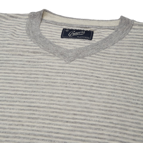 Bleecker Stripe V Neck - Gray Cream Stripe-Grayers