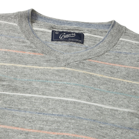 Bedford Stripe V Neck - Gray Multi