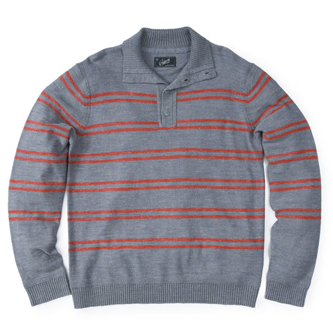 Wadsworth Wool Linen Stripe Mock - Gray Heather/Red Orange-Grayers