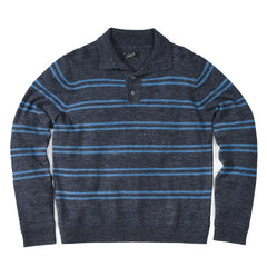 Wadsworth Wool Linen Stripe Mock - Charcoal/Med Blue-Grayers