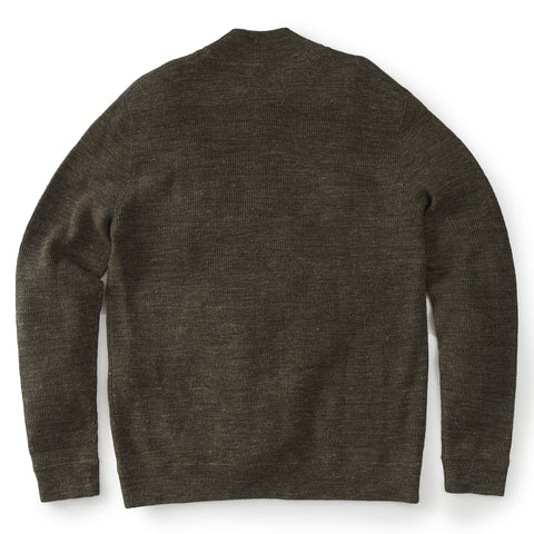 Wadsworth Wool Linen Textured Henley - Olive