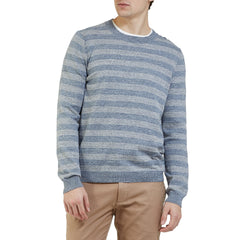 Westport Stripe Crew - Blue Gray Heather Stripe