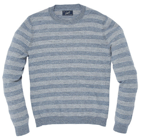 Westport Stripe Crew - Blue Gray Heather Stripe-Grayers
