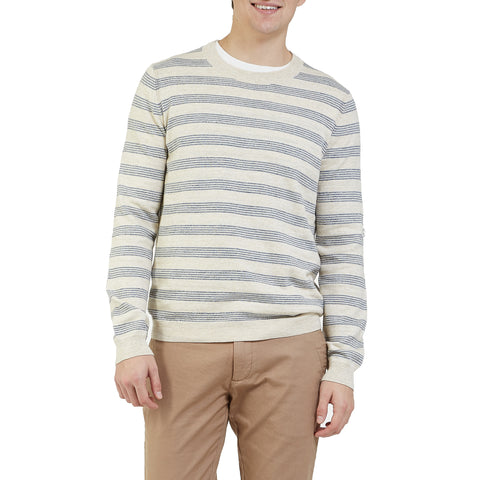 Westport Stripe Crew - Cream Blue Heather Stripe-Grayers