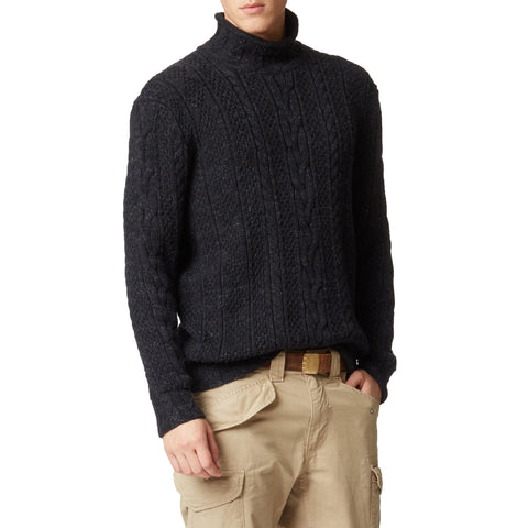 Albert Roll Neck - Black Marl