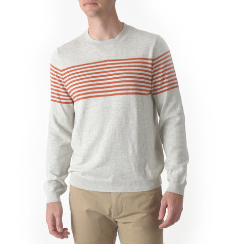 Cabana Stripe Crew - Light Gray Red