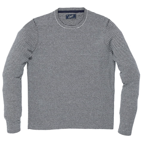 James Linen Cotton Crew Sweater - Charcoal Cream-Grayers