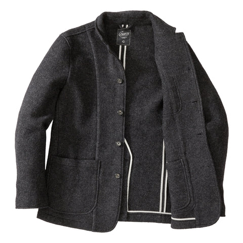 Burnham Knitted Boiled Wool Blazer - Charcoal