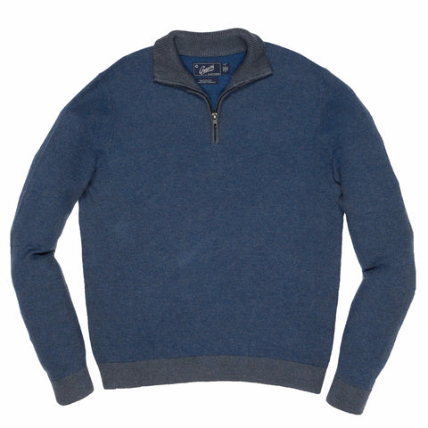 Bleecker Textured V Neck - Navy Heather