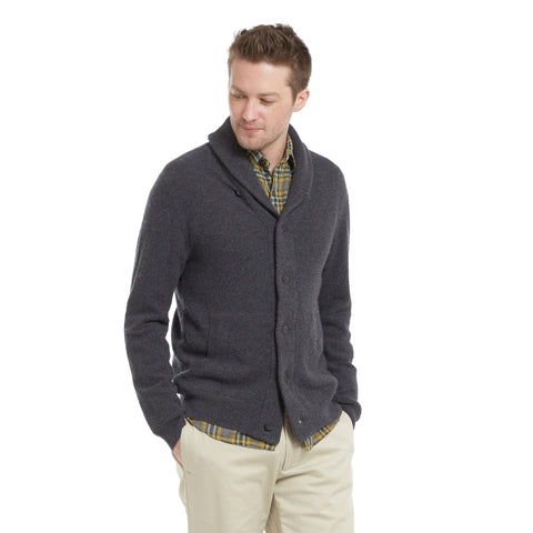 Aspen Cashmere Shawl Cardigan - Charcoal