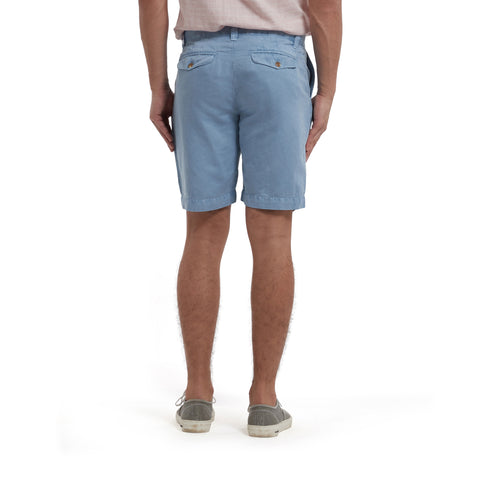 "Bermuda Stretch Cotton Linen Shorts 9"" - Dusty Blue-Grayers"