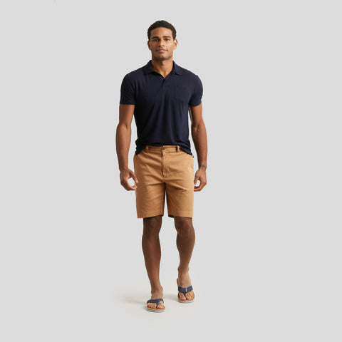 "Bermuda Stretch Cotton Linen Shorts 9"" - Indian Tan"