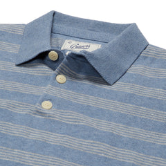 Westport Nautical Stripe Sweater Polo - Blue Gray Heather Stripe-Grayers