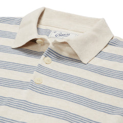 Westport Nautical Stripe Sweater Polo - Cream Blue Heather Stripe
