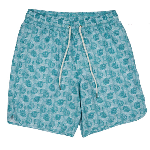 "Blue Surf Swim Trunk 8"" - Blue Surf Leaf Print-Grayers"