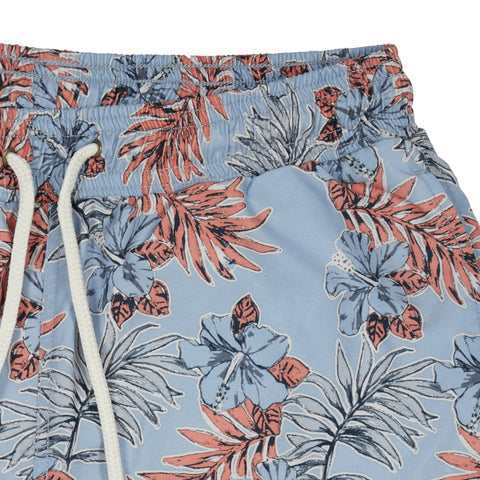"Blue Tropic Swim Trunk 8"" - Dusty Blue leaf print-Grayers"