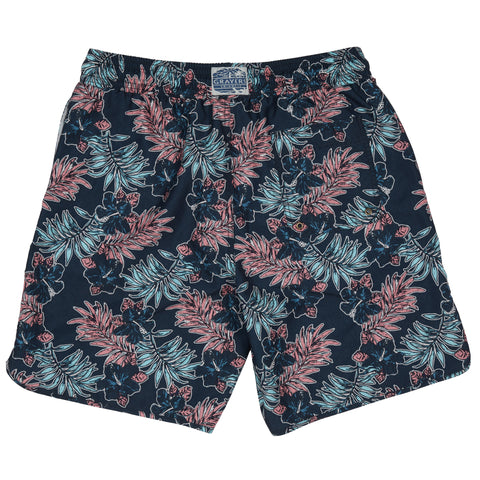 "Midnight Tropic Swim Trunk 8"" - Midnight Leaf print"
