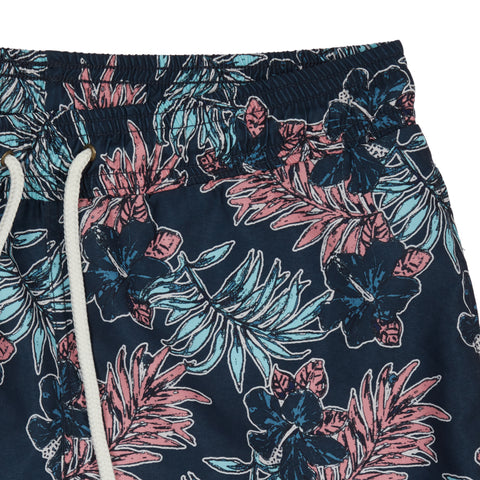 "Midnight Tropic Swim Trunk 8"" - Midnight Leaf print-Grayers"