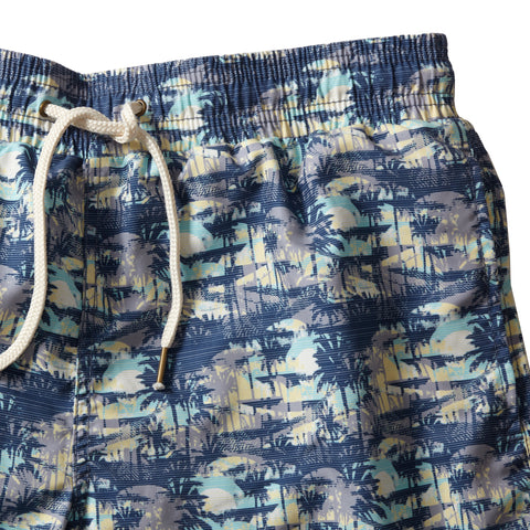"Blue Carbon Swim trunk 8"" - Blue Carbon Palm-Grayers"