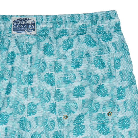 "Blue Surf Swim Trunk 6"" - Blue Surf Leaf Print-Grayers"
