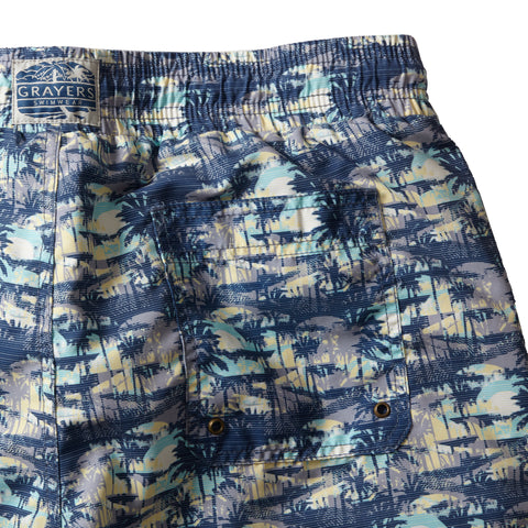 "Blue Carbon Swim trunk 6"" - Blue Carbon Palm-Grayers"