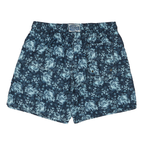 "Carbon Blue Leaf Swim Trunk 6"" - Carbon Blue Surf Floral Print-Grayers"