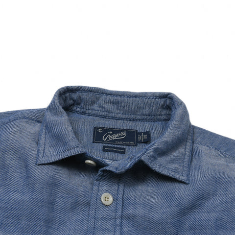 Cambridge Double Cloth Shirt - Blue Cream Textured Twill