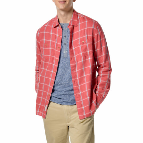 Sterling Slub Twill Shirt - Red Blue Windowpane-Grayers
